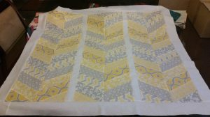 Yellow and Grey Herringbone Quilt